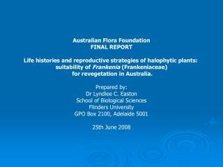 Australian Flora Foundation FINAL REPORT