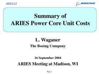 Summary of  ARIES Power Core Unit Costs