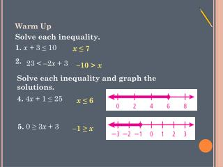 Warm Up Solve each inequality.          1.  x +  3 ? 10   2.