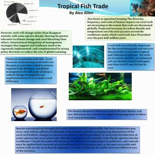 Tropical Fish Trade             By Alex Allen