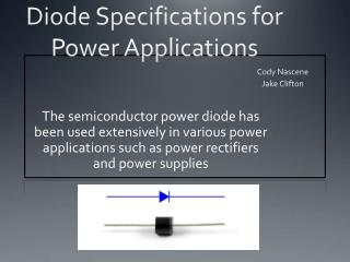 Diode Specifications for Power Applications