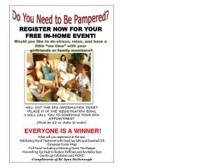 REGISTER  NOW FOR YOUR FREE IN-HOME EVENT!