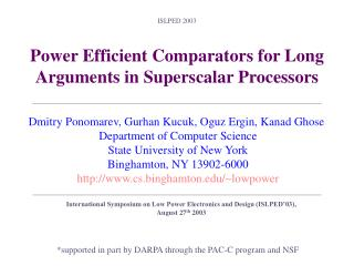 Power Efficient Comparators for Long Arguments in Superscalar Processors