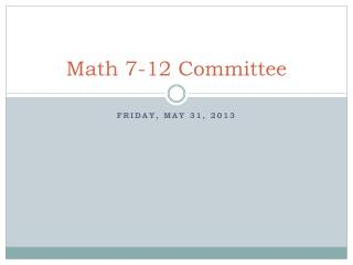 Math 7-12 Committee