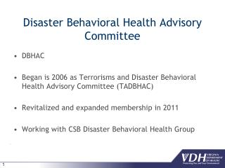 Disaster Behavioral Health Advisory Committee