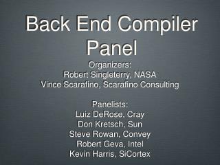 Back End Compiler Panel