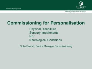 Commissioning for Personalisation