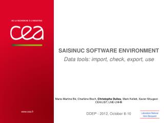 SAISINUC SOFTWARE ENVIRONMENT Data  tools : import, check, export, use