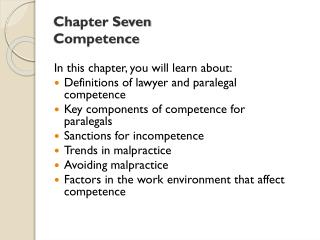 Chapter Seven Competence