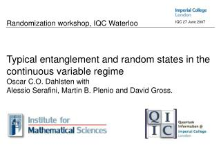 ' Typical entanglement and random states in the continuous variable regime '