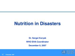 Nutrition in Disasters