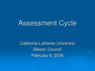 Assessment Cycle
