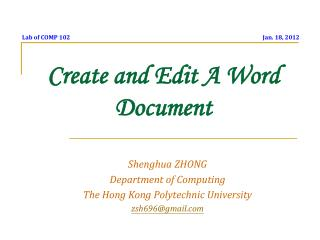 Create and Edit A Word Document