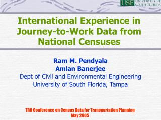 International Experience in Journey-to-Work Data from National Censuses