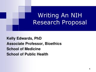 Writing An NIH  Research Proposal