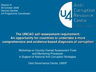 Workshop on Country-Owned Assessment Tools  and Monitoring Processes