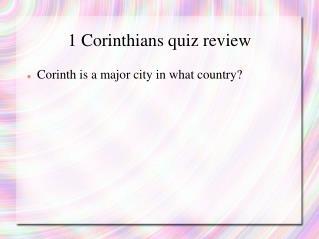 1 Corinthians quiz review