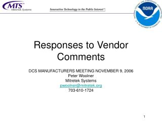 Responses to Vendor Comments