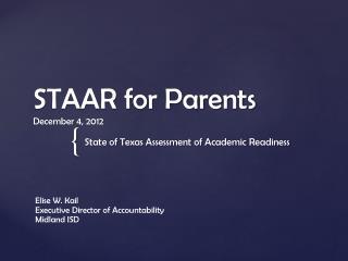 STAAR for Parents December 4, 2012