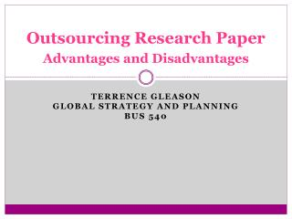 Outsourcing Research Paper Advantages and Disadvantages