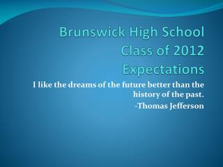 Brunswick High School   Class of 2012  Expectations