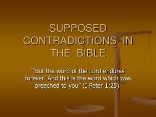 SUPPOSED  CONTRADICTIONS  IN  THE  BIBLE