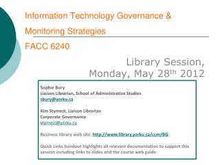 Information Technology Governance & Monitoring Strategies FACC 6240