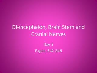 Diencephalon, Brain Stem and Cranial Nerves