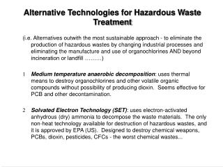 Alternative Technologies for Hazardous Waste Treatment