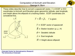 Computation of Azimuth and Elevation George H. Born