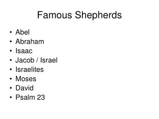 Famous Shepherds