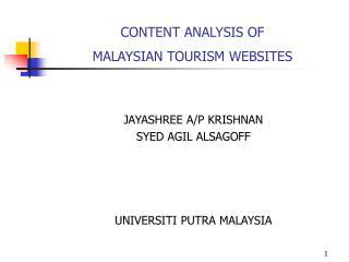 CONTENT ANALYSIS OF  MALAYSIAN TOURISM WEBSITES