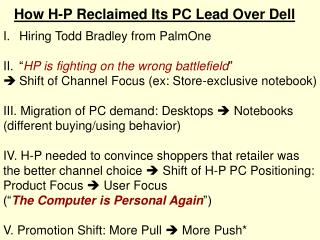 How H-P Reclaimed Its PC Lead Over Dell