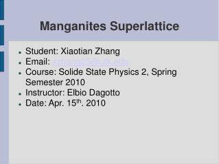 Manganites Superlattice