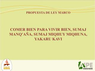 PROPUESTA DE LEY MARCO