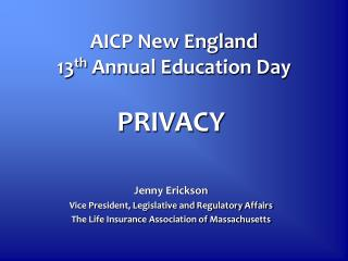 AICP New England 13 th  Annual Education Day