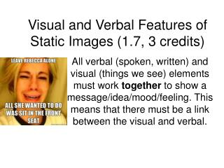 Visual and Verbal Features of Static Images (1.7, 3 credits)