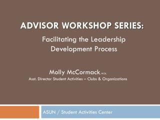 Advisor workshop series: