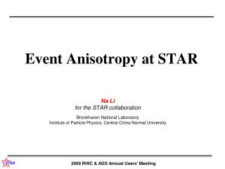 Event Anisotropy at STAR