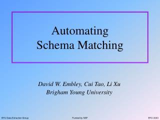 Automating Schema Matching