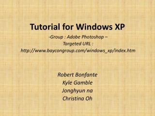 Tutorial for Windows XP