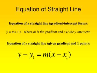 Equation of Straight Line