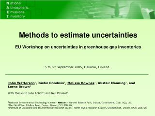 Methods to estimate uncertainties EU Workshop on uncertainties in greenhouse gas inventories