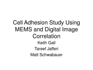 Cell Adhesion Study Using MEMS and Digital Image Correlation