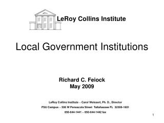 Local Government Institutions Richard C. Feiock May 2009