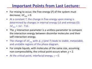 Important Points from Last Lecture: