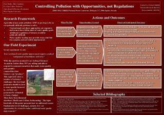 Research Framework Agricultural non-point pollution (ANP) is proving to be an