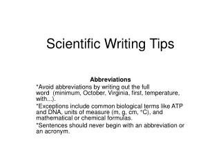 Scientific Writing Tips