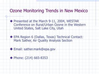 Ozone Monitoring Trends in New Mexico