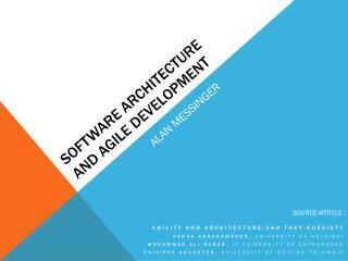 software Architecture and AgilE Development